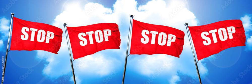 Fototapety, obrazy: stop sign flag, 3D rendering
