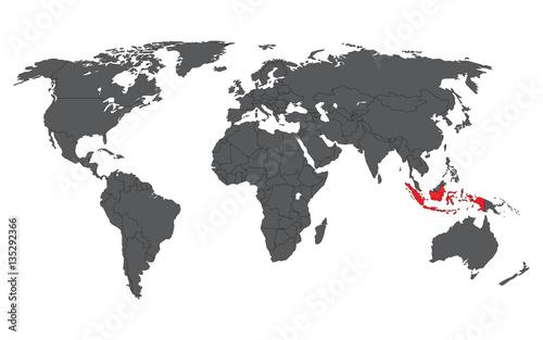 Indonesia red on gray world map vector – kaufen Sie diese ...