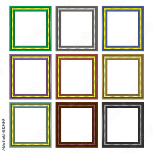 Set of Colorful Wooden Frames Isolated on White Background - Buy ...