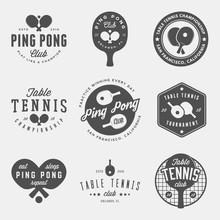 Vector Set Of Ping Pong Logos, Emblems And Design Elements