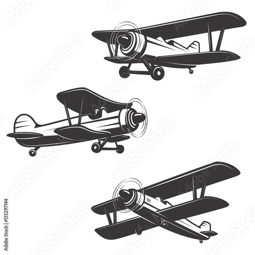 Set of airplane icons isolated on white background. Wallpaper Mural