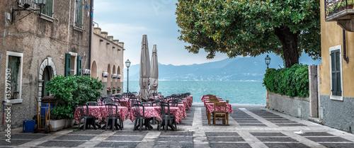 Fototapeta Summer cafe on the beautiful lake obraz