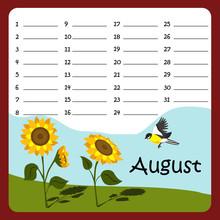 Birthday Calendar For August