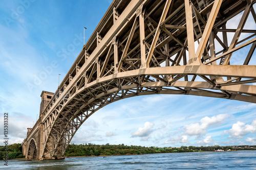 Foto auf Gartenposter Bridges Britannia bridge over Menai Strait in North Wales