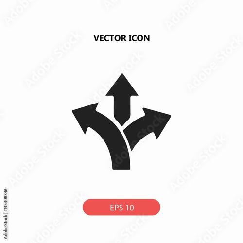 Fotografie, Obraz  three-way direction arrow vector icon