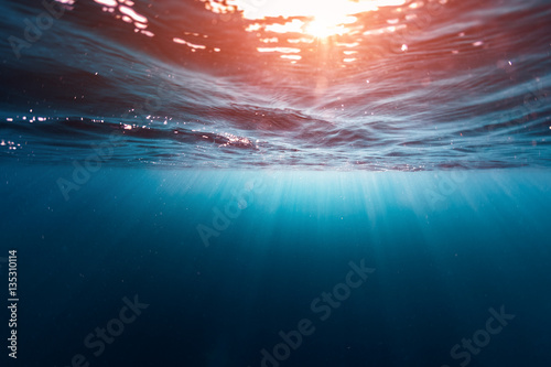 Wall Murals Ocean Underwater shot of the sea surface with sunny beams and waves