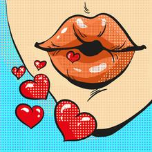 Pop Art Lips Sending Kiss With...