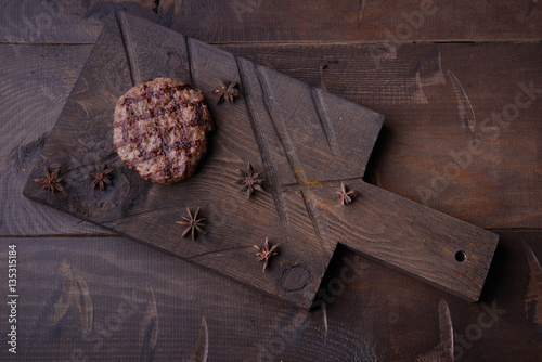 Steak grill, food background, wood background. View from ...