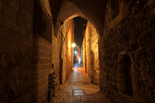Night Street In The Old City O...