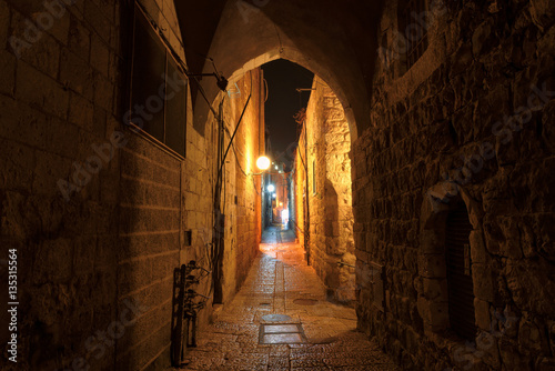 Night street in the old city of Jerusalem, Israel.
