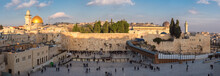 Panoramic View Of Temple Mount In The Old City Of Jerusalem At Sunset, Israel.