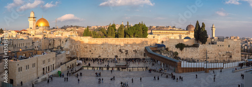 Fotobehang Midden Oosten Panoramic view of Temple Mount in the old city of Jerusalem at sunset, Israel.