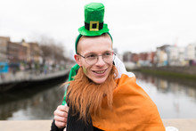 Funny Young Man Wearing A Costum For St Patrick's Day . Dublin I