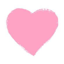 Pink Hand Drawn Heart Element. Vector Background.