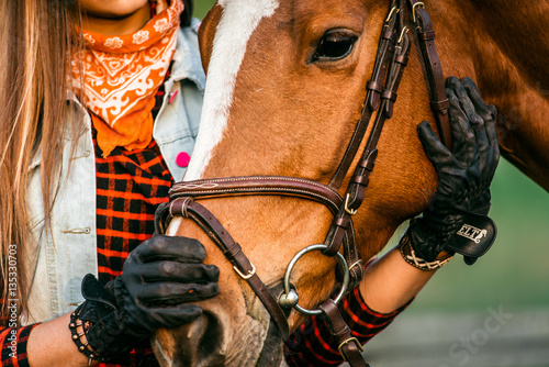 Photo  cowgirl and horse