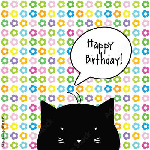 Happy Birthday Card Cat Character