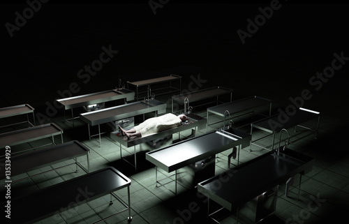 Photo  cadaver, dead male body in morgue on steel table