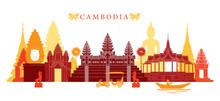 Cambodia Landmarks Skyline, Co...