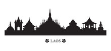 Laos Landmarks Skyline In Silh...