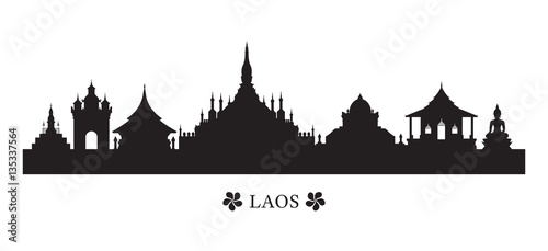 Laos Landmarks Skyline in Silhouette, Cityscape, Travel and Tourist Attraction Wallpaper Mural