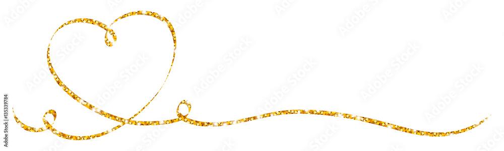 Fototapety, obrazy: Golden Calligraphy Heart Ribbon