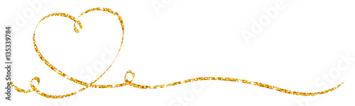 Golden Calligraphy Heart Ribbon Wallpaper Mural