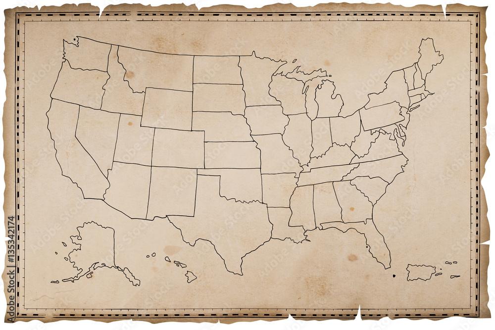 Fototapeta Stara mapa USA