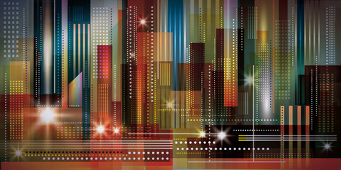Panel Szklany Architektura Cityscape night background. Vector Illustration