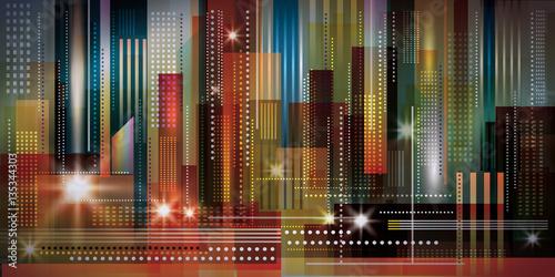 Cityscape night background. Vector Illustration - 135344303