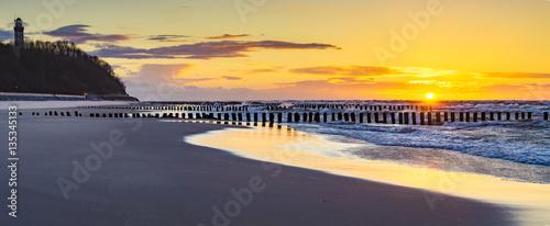 Poster Melon lighthouse on the coast of baltic sea, Niechorze, Poland