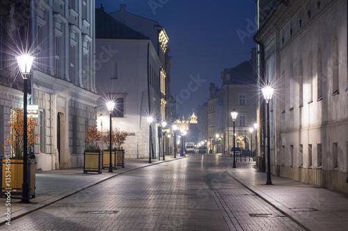 night streets lights in Krakow