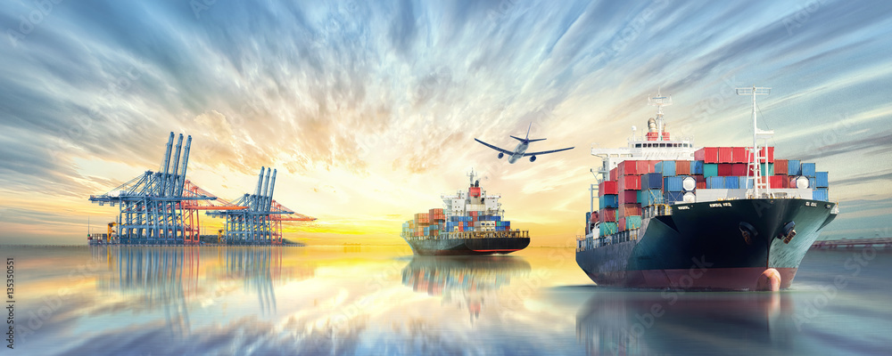 Fototapety, obrazy: Logistics and transportation of International Container Cargo ship and cargo plane in the ocean at twilight sky, Freight Transportation, Shipping