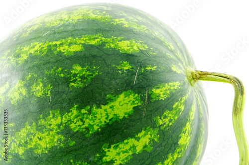 Watermelon photographed close-up on white background