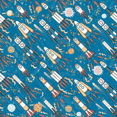 Tapeta hand drawn cartoon space seamless pattern. rockets, spacemen, planets and stars