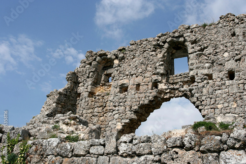 Foto op Canvas Rudnes Stony ruins of the medieval fortress Mangup Kale in Crimean Mountains, Crimea.