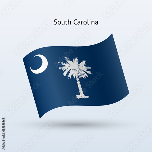 Plakat Flaga stanu Karolina Południowa formularz macha.