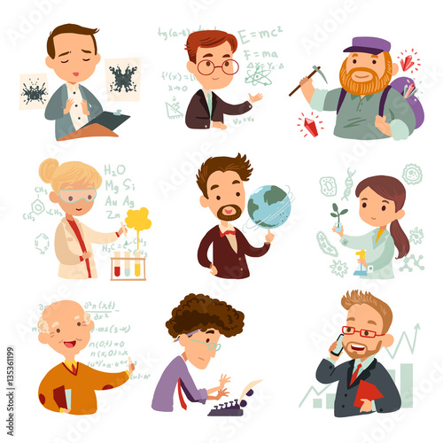 Canvas Print Set of cartoon characters scientists isolated on white background
