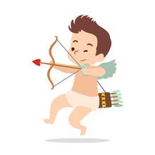 Cupid Shoots A Bow. Vector Illustration