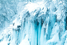 Frozen Waterfalls In Natu...