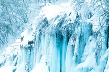 Frozen Waterfalls In Nature Park Plitvice, Croatia
