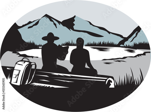Vászonkép  Two Trampers Sitting on Log Lake Mountain Oval Woodcut
