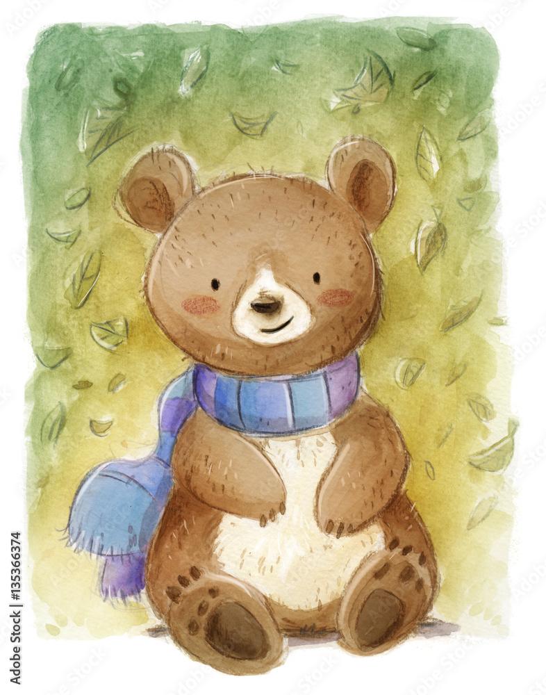 niedźwiedź z szalikiem