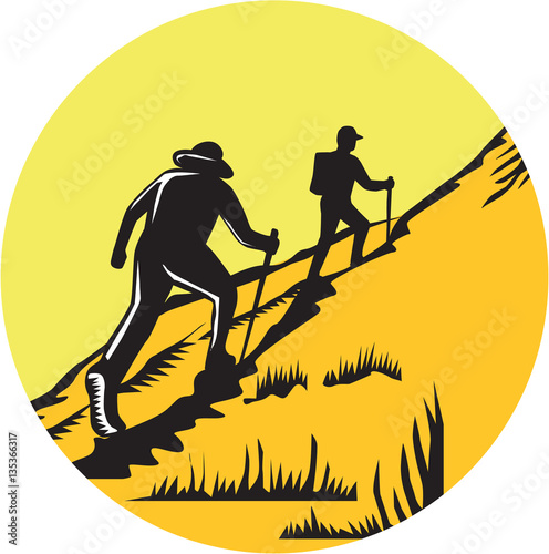 Obraz na plátně  Hikers Hiking Up Steep Trail Circle Woodcut