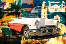 Collage Of Cuban Landmarks And Typical Scenes With A Classic Car