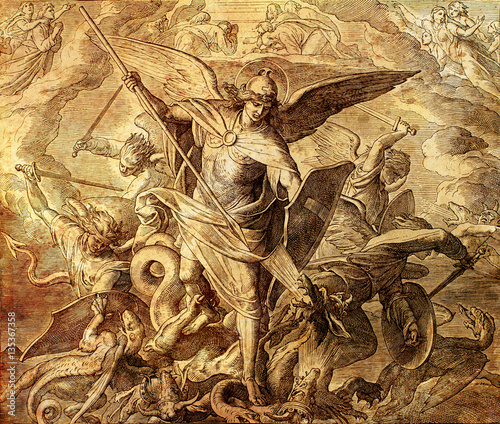 Archangel Michael fighting with dragon, engraving of Nazareene School, published in The Holy Bible, St Fototapeta