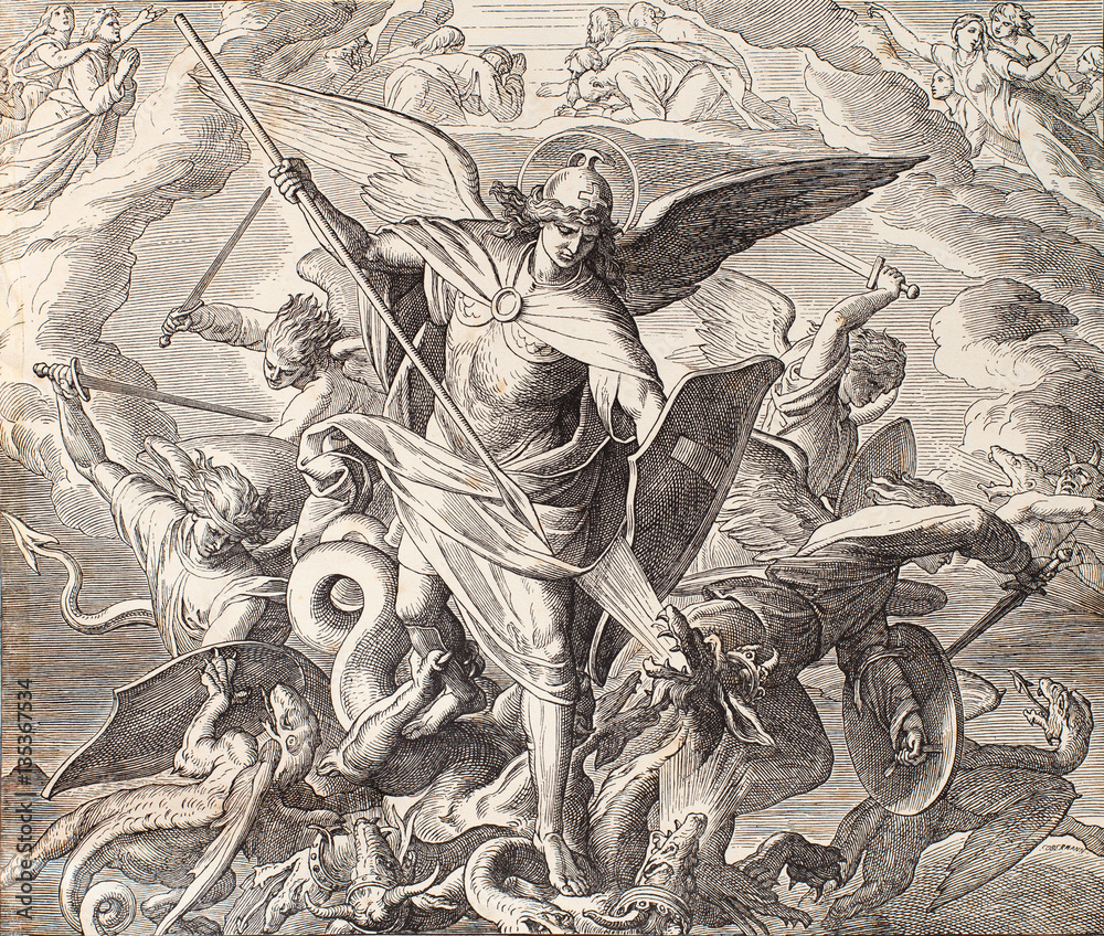 Fototapety, obrazy: Archangel Michael fighting with dragon, engraving of Nazareene School, published in The Holy Bible, St.Vojtech Publishing, Trnava, Slovakia, 1937.