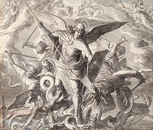 Fotomural Archangel Michael fighting with dragon, engraving of Nazareene School, published in The Holy Bible, St