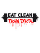 Weight lifting dumbbell weights training eat clean train dirty text logo