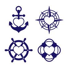 Marine Heart Icon Set Of Ancho...