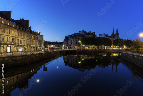 City on the water Quimper architecture and night
